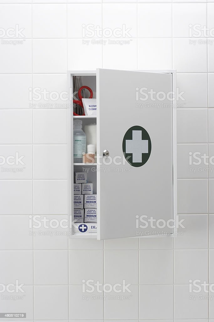 medical cabinet stock photo