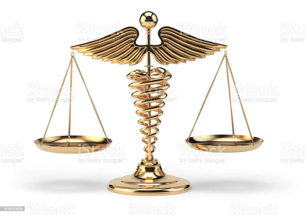 Medical caduceus symbol as scales. Concept of medicine and justice. stock photo