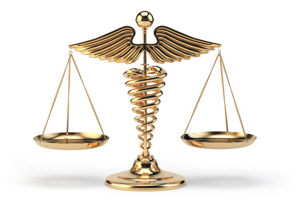 medical caduceus symbol as scales. concept of medicine and justice. - caduceus stock pictures, royalty-free photos & images