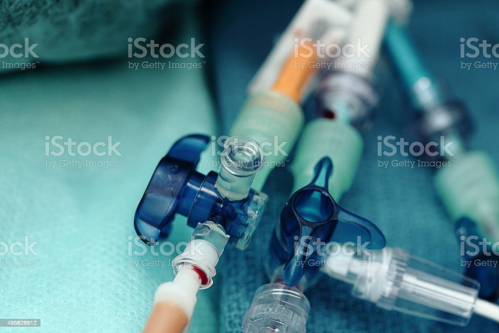 Medical catheters on tissue in a hospital close-up stock photo