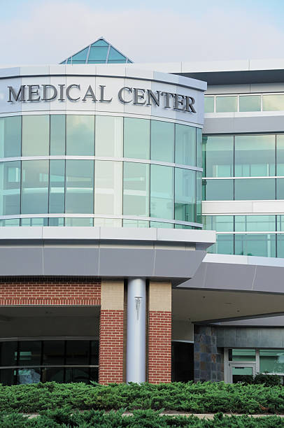 Medical center building with entrance stock photo