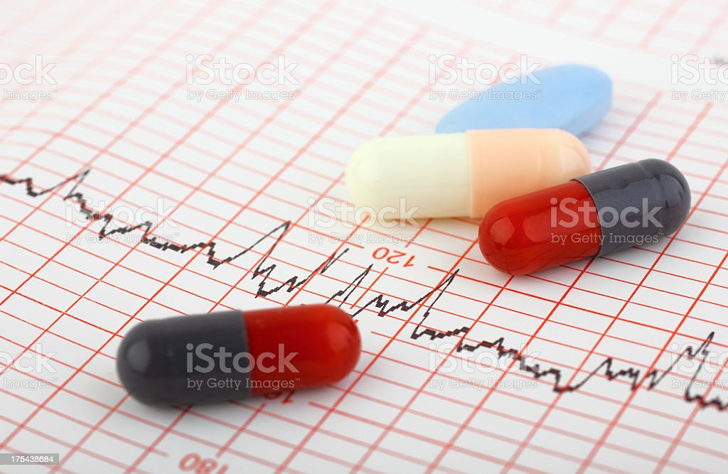 Medical chart and pills royalty-free stock photo