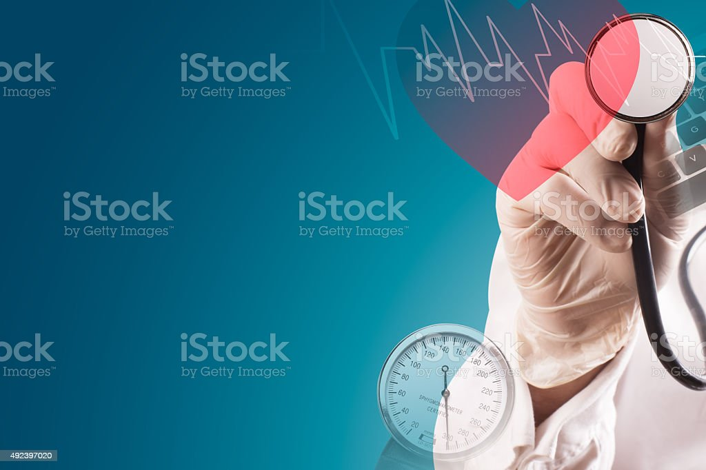 Medical collage with doctor and stethoscope stock photo