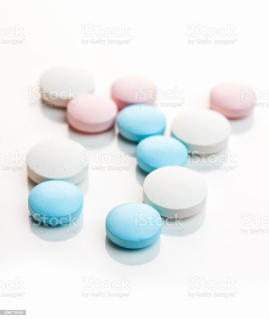 Medical colored pills stock photo
