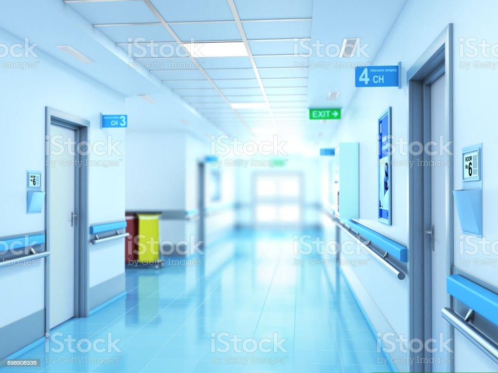 Concepto médico. Pasillo de hospital con habitaciones. - foto de stock
