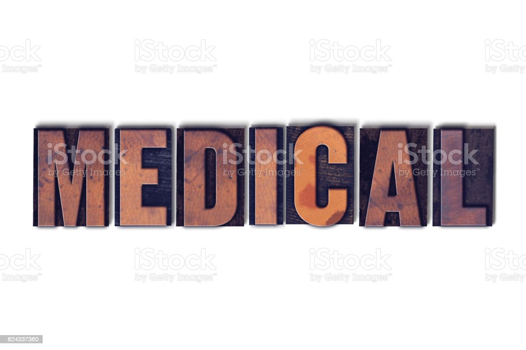 Medical Concept Isolated Letterpress Word stock photo