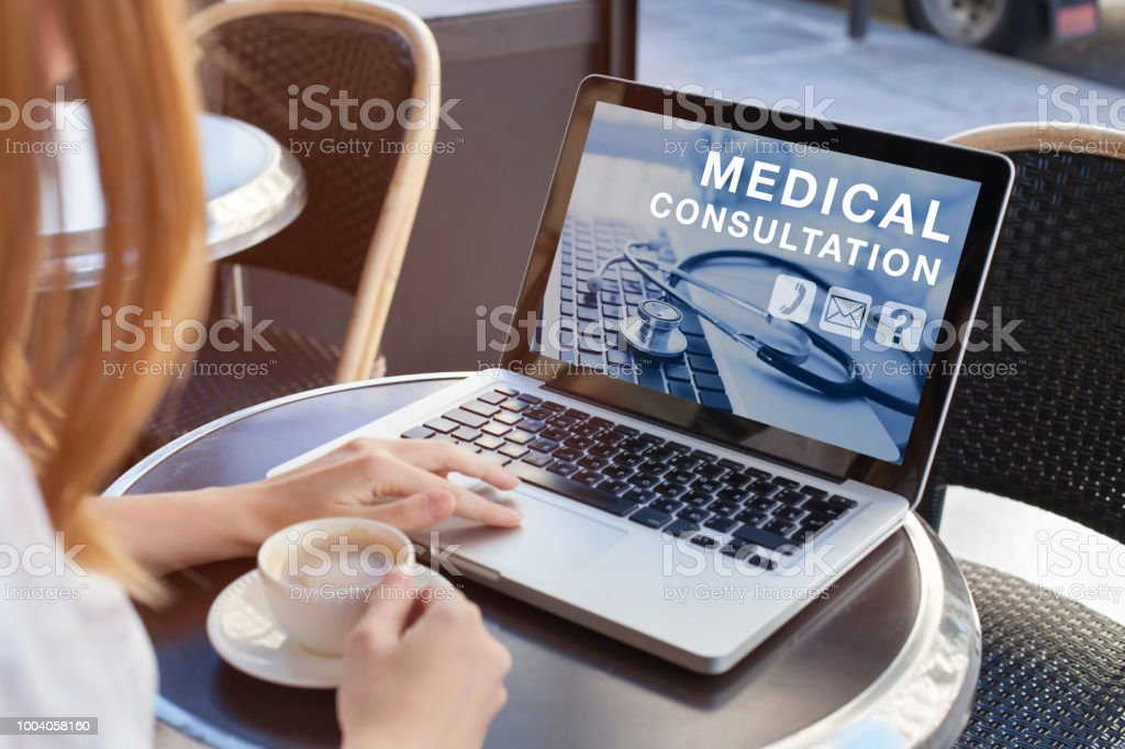 medical consultation online, doctor advice stock photo