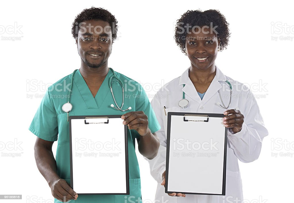 Medical couple with clipboard royalty-free stock photo