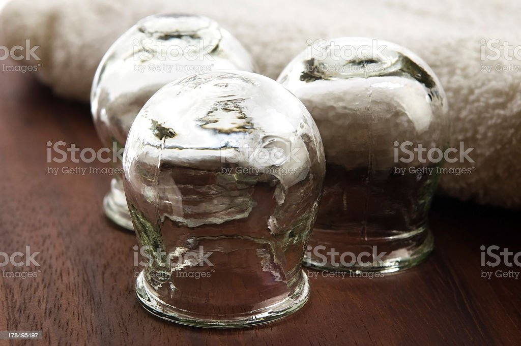 Medical cupping glass tool in black and white stock photo