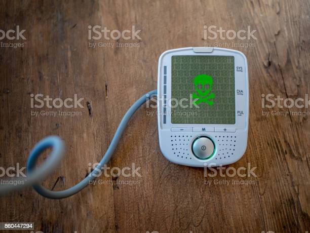 Medical Device Is Hacked Or Infected By Virus Modern Health Care Concept Malware On Blood Pressure Display Stock Photo - Download Image Now