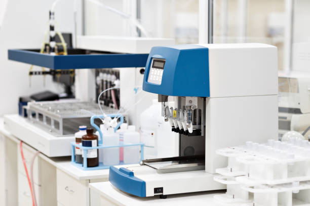 medical devices for analyzes. blood tested for AIDS and other diseases. definition of DNA. selective focus stock photo