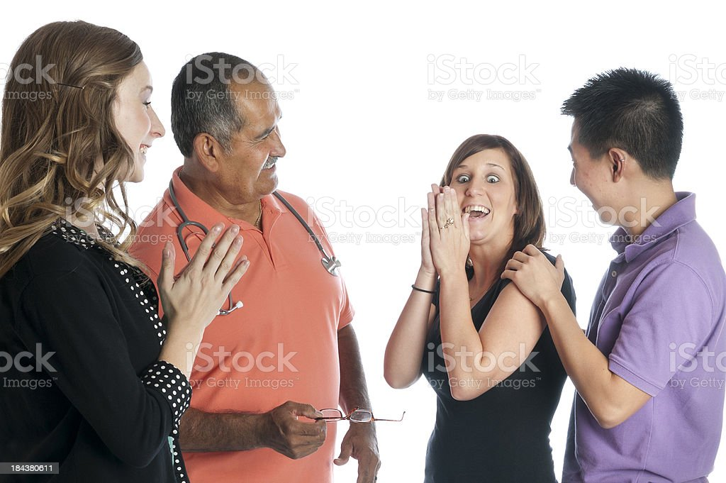 ASL Medical Discussion Gives Couple Good News royalty-free stock photo