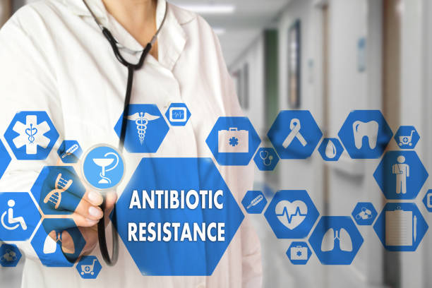 Medical Doctor  and ANTIBIOTIC RESISTANCE words in Medical network connection on the virtual screen on hospital background.Technology and medicine concept. Medical Doctor  and ANTIBIOTIC RESISTANCE words in Medical network connection on the virtual screen on hospital background.Technology and medicine concept. antibiotic resistant stock pictures, royalty-free photos & images