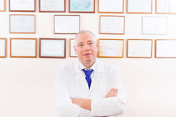 medical doctor at office stock photo