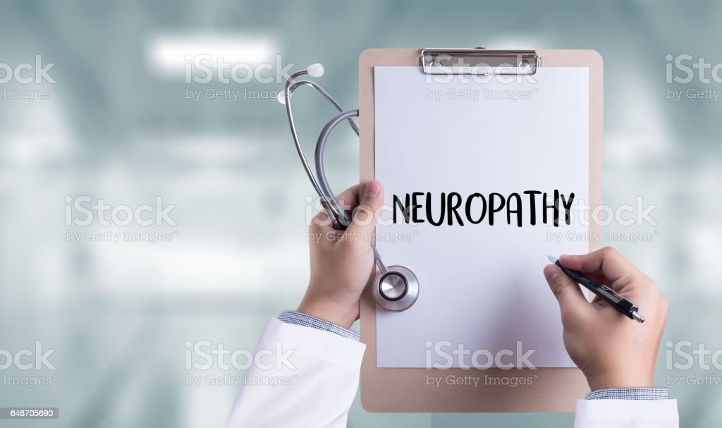 NEUROPATHY  Medical  Doctor concept , Neuropathy Wording in Anamnesis. stock photo