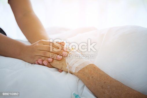istock medical doctor holing senior patient's hands and comforting her, Hand of man touching senior woman in clinic, care for the elderly concept 939210352