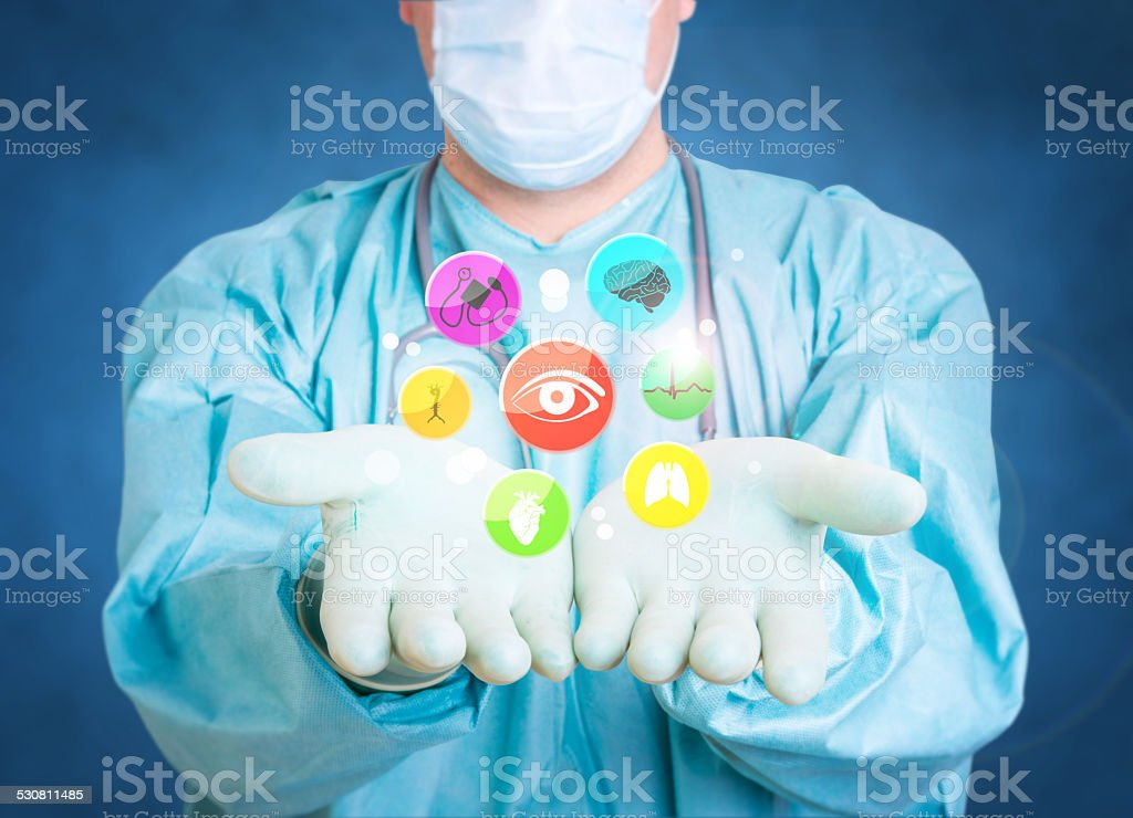 medical doctor icons gloves stock photo