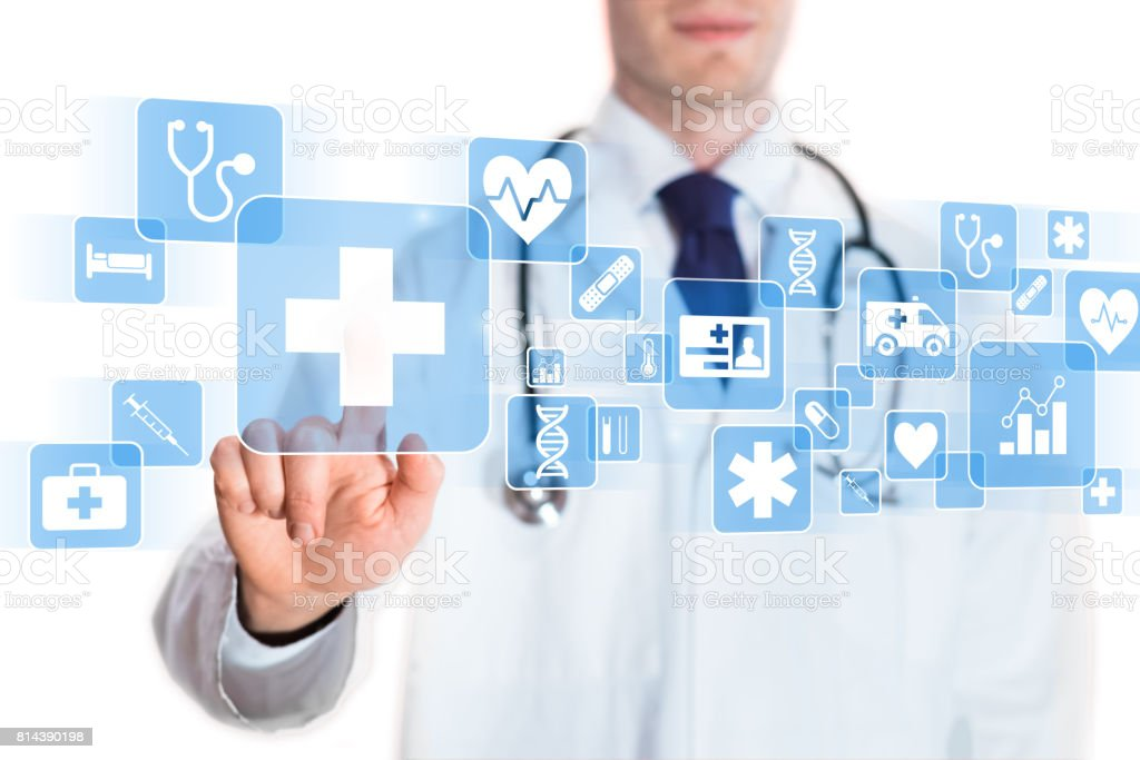 Medical doctor showing icons of healthcare services, digital screen stock photo