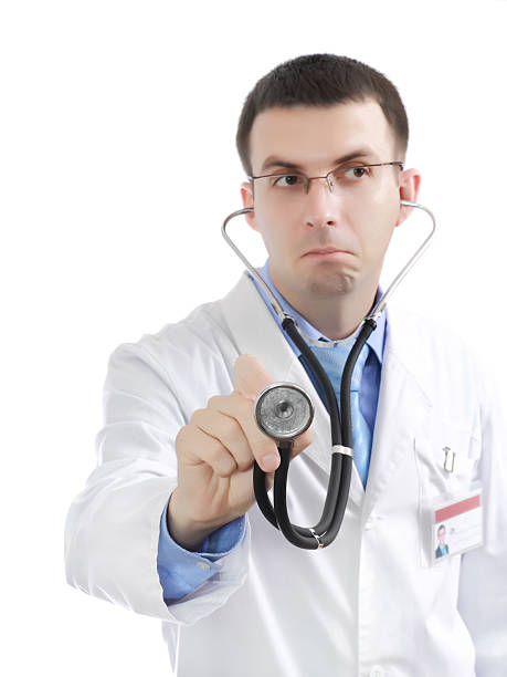 Medical doctor stethoscope's listen. Isolated. stock photo