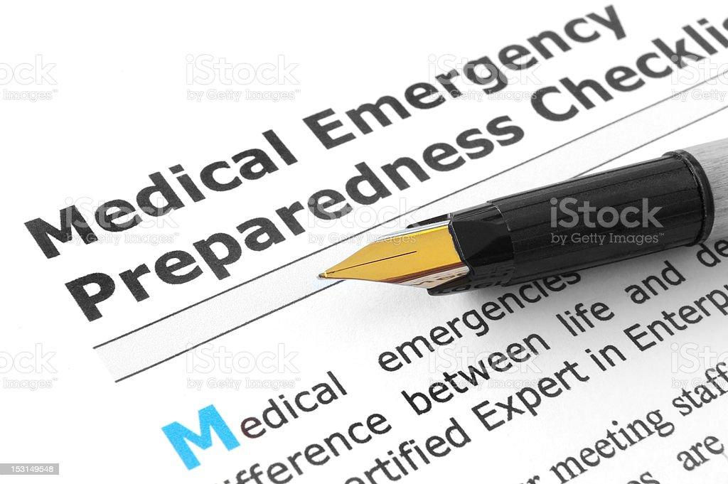 Medical Emergency Preparedness Checklist stock photo