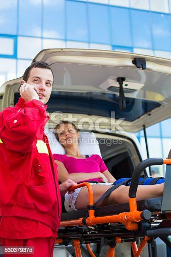 508966965 istock photo Medical emergency taking care of a female patient 530379375