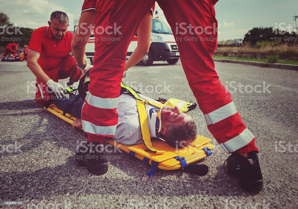 Medical emergency team first aid at accident stock photo