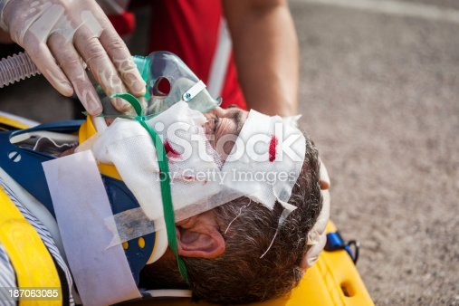 istock Medical emergency team first aid at street accident 187063085