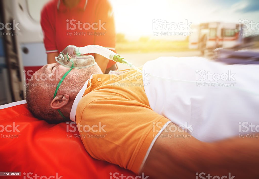 Medical emergency team first aid: oxygen mask royalty-free stock photo