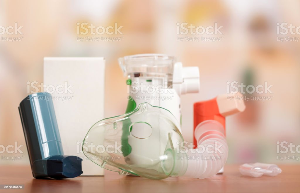 Medical equipment and medicines for treatment of asthma. Bronchi asthma concept stock photo