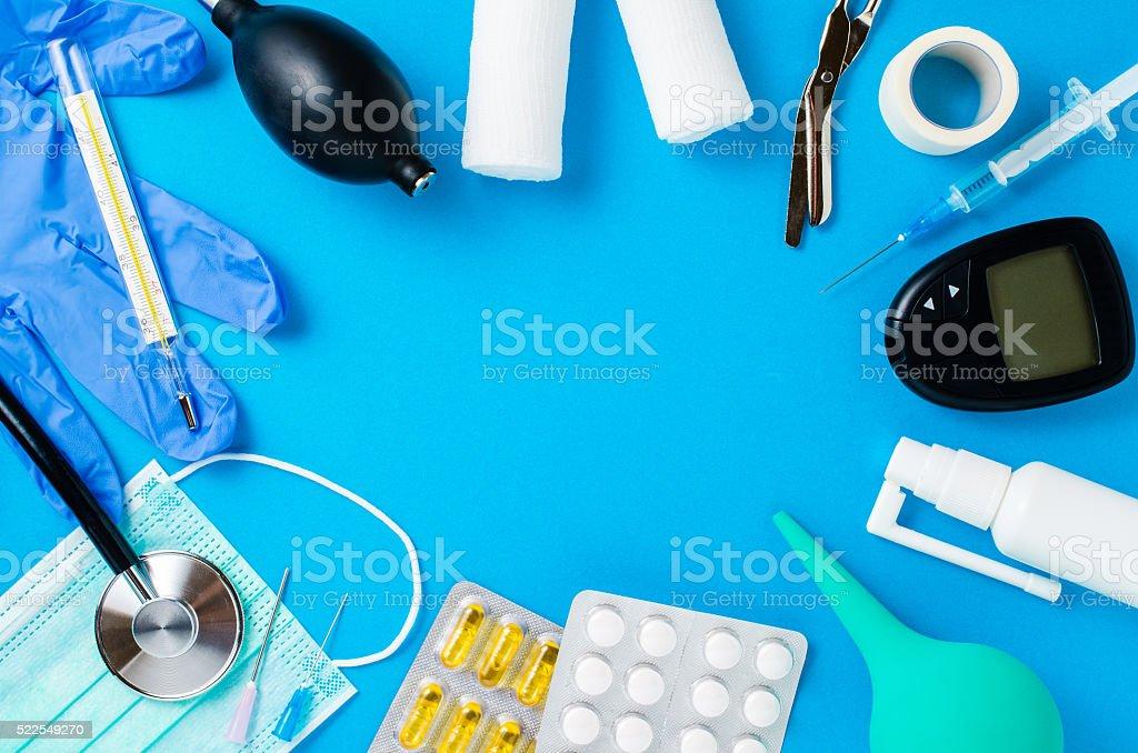 Medical equipment background stock photo
