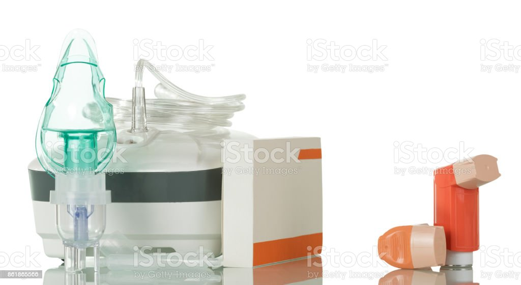 Medical equipment for inhalation, respiratory mask on white stock photo