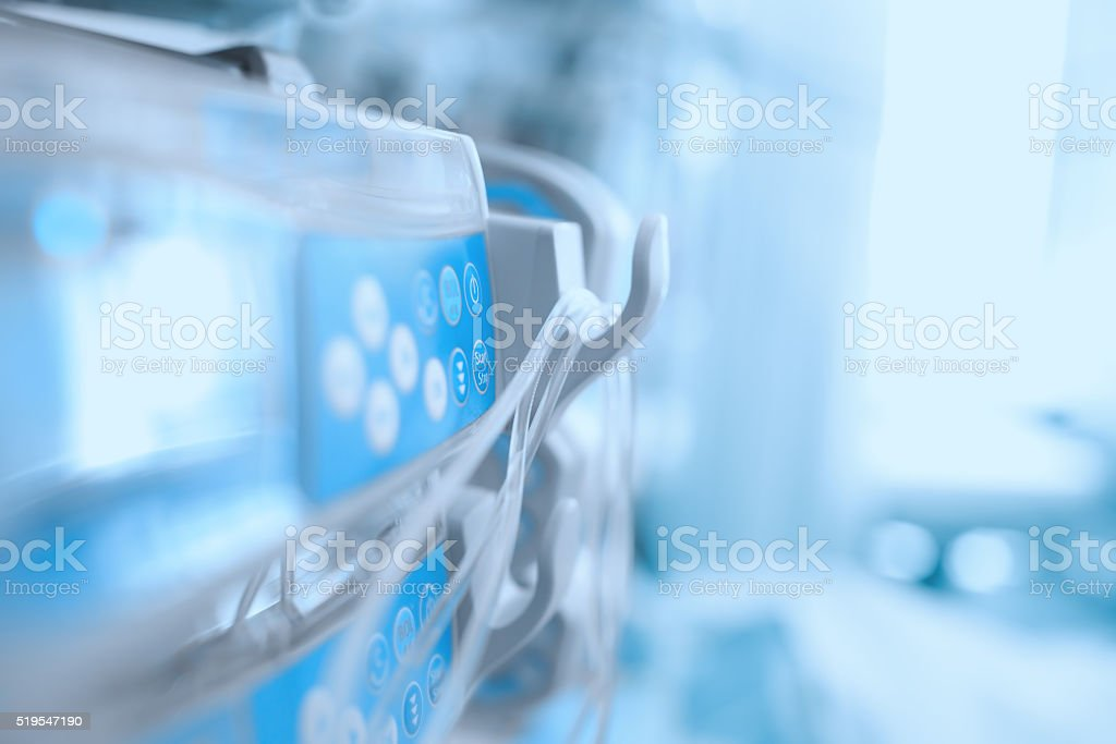 Medical equipment in the ICU ward stock photo