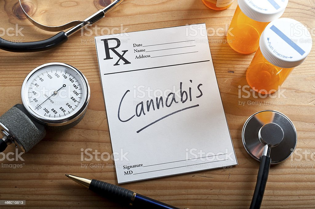 Medical equipment including notepad with Cannabis written stock photo
