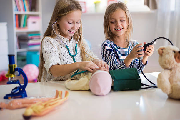 Medical equipment used by little girls stock photo