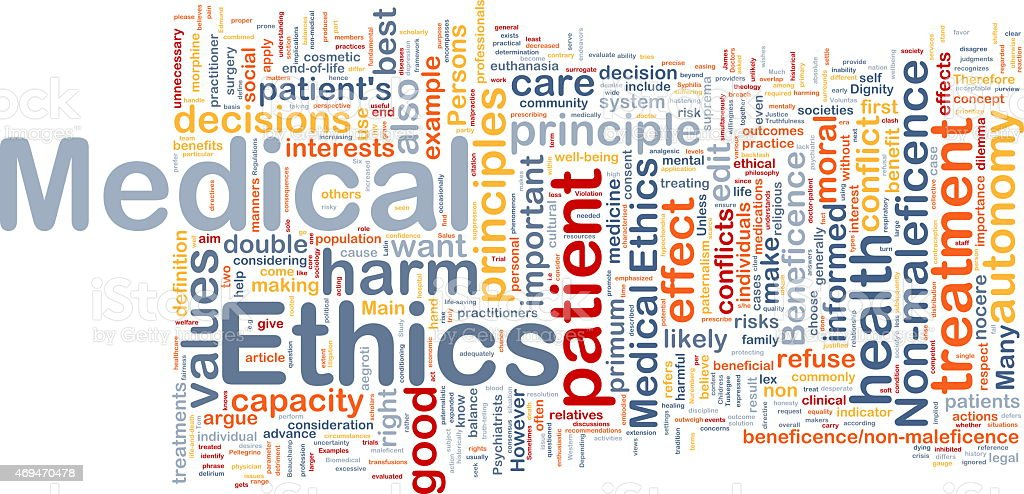 Medical ethics background concept wordcloud stock photo