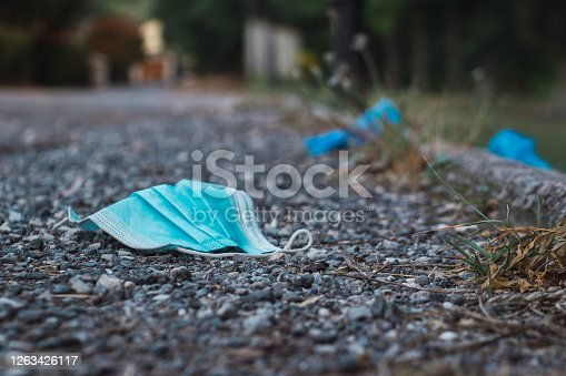 istock Medical face mask on the floor in the street 1263426117