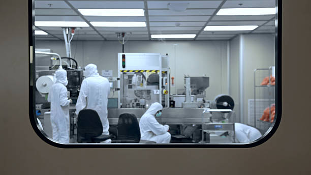 Medical factory production laboratory Medical factory production laboratory cleanroom stock pictures, royalty-free photos & images