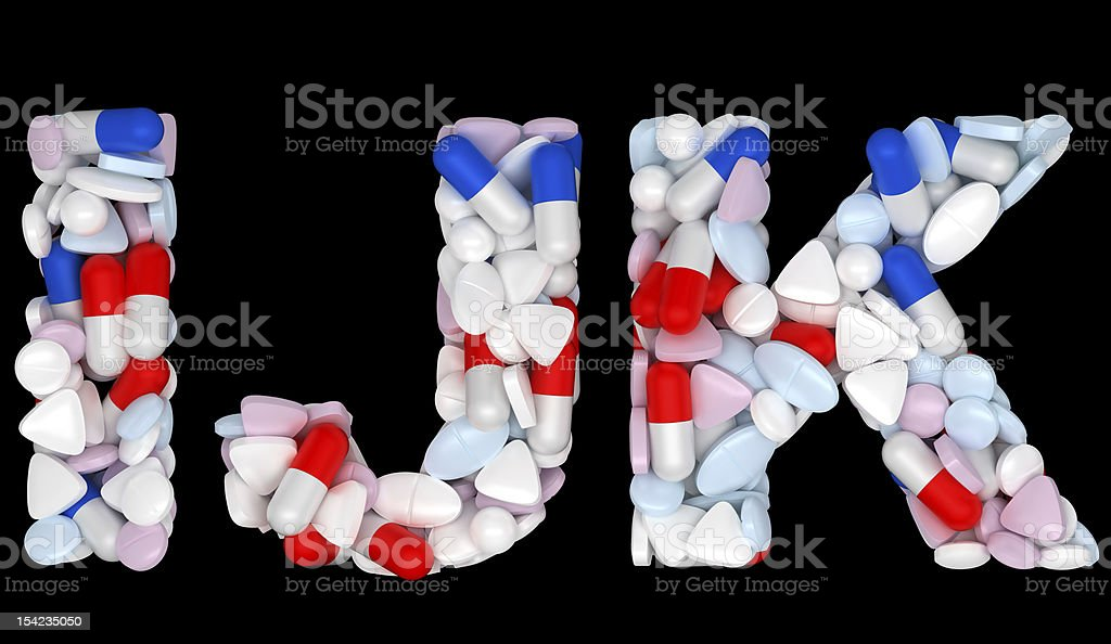 Medical font I J and K pills letters royalty-free stock photo