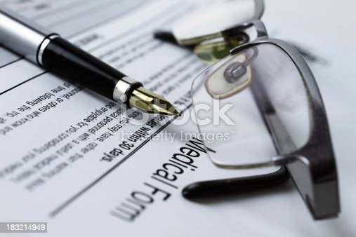 istock Medical form and fountain pen 183214949