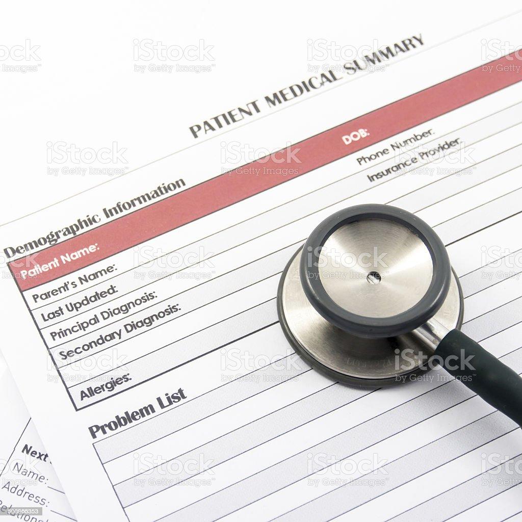 Medical Form, document, stethoscope