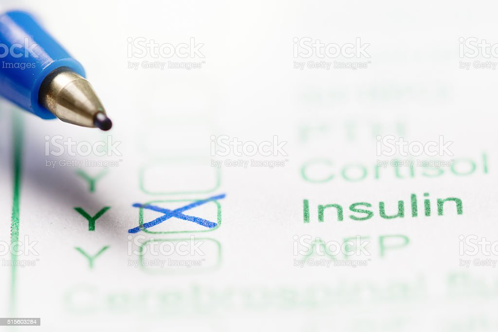 Medical Form Ordering A Blood Test For Insulin Levels Stock Photo