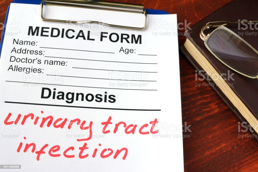 Medical form with diagnosis Urinary tract infection. stock photo