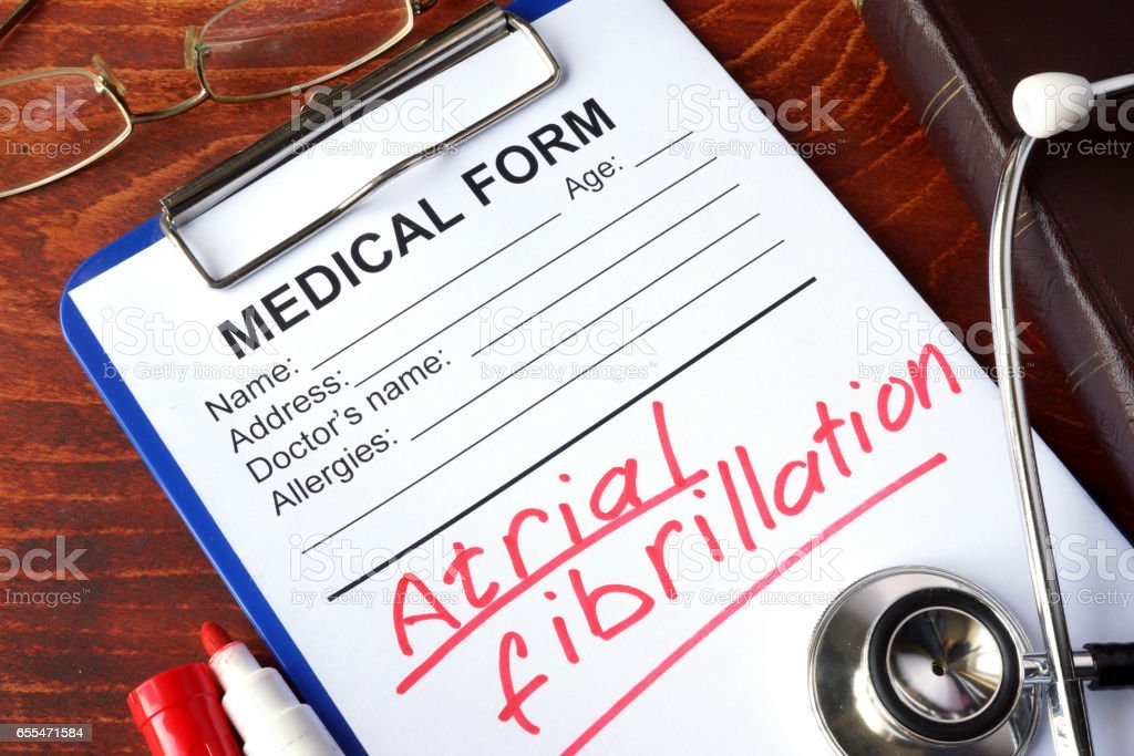 Medical form with words Atrial fibrillation (AFib). stock photo