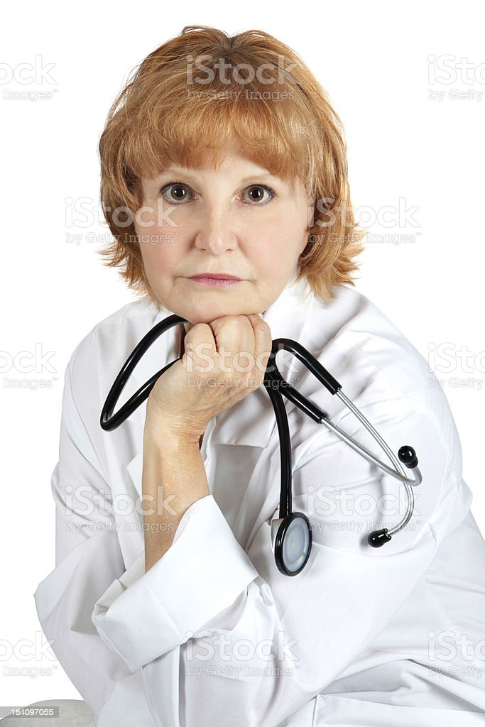 Medical: Friendly mature female doctor Holding Stethescope royalty-free stock photo
