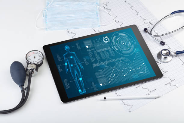 Medical full body screening software on tablet stock photo
