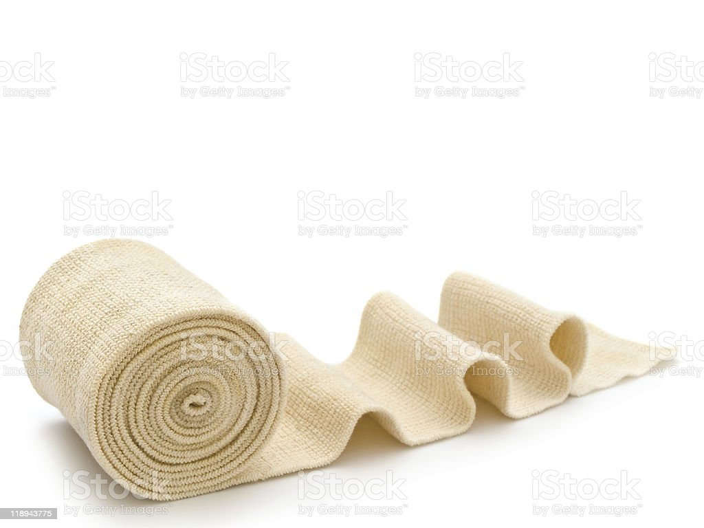 Medical gauze for wound care rolled up with some ridges stock photo