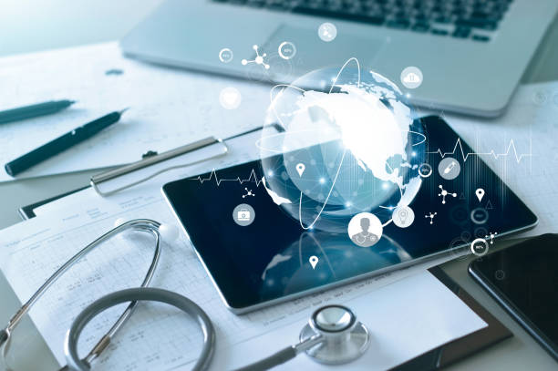 Medical global networking and healthcare global network connection on tablet, Medical technology. Medical global networking and healthcare global network connection on tablet, Medical technology. healthcare and medicine stock pictures, royalty-free photos & images