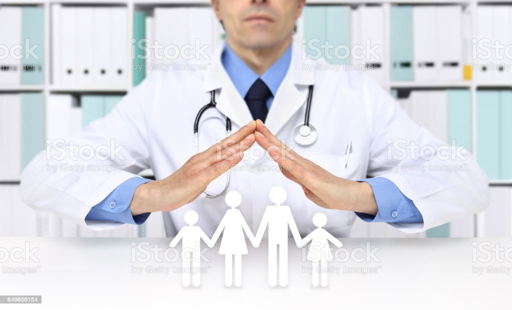medical health insurance concept, doctor hands with family icons stock photo