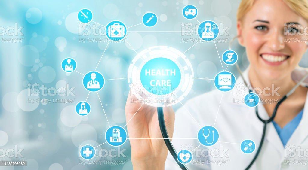 8629f40e0 Concepto médico-médico en hospital con iconos médicos digitales banner  gráfico que muestra el símbolo