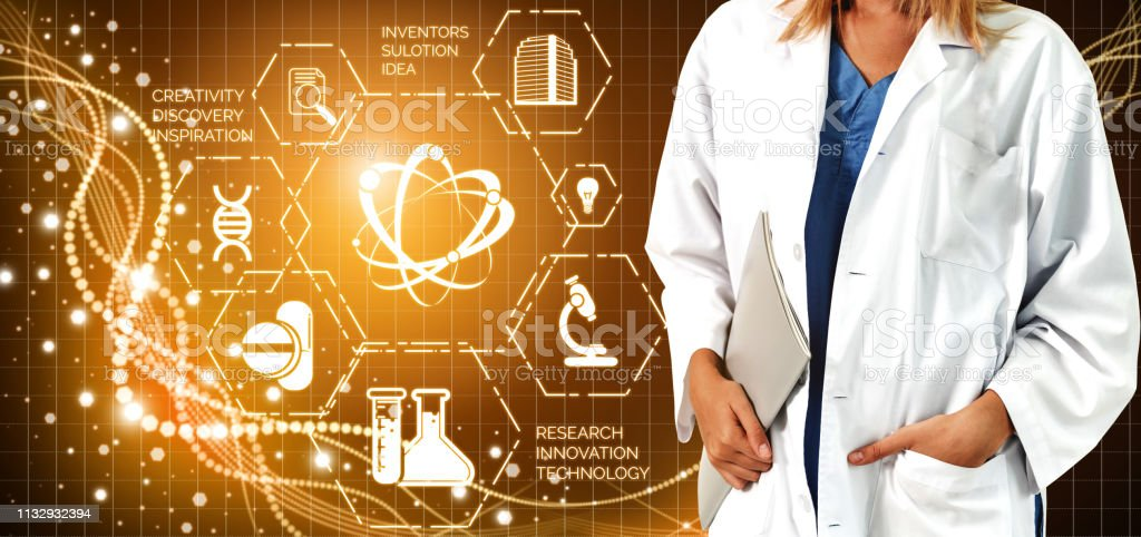Medical Healthcare Research and Development Concept. Doctor in...